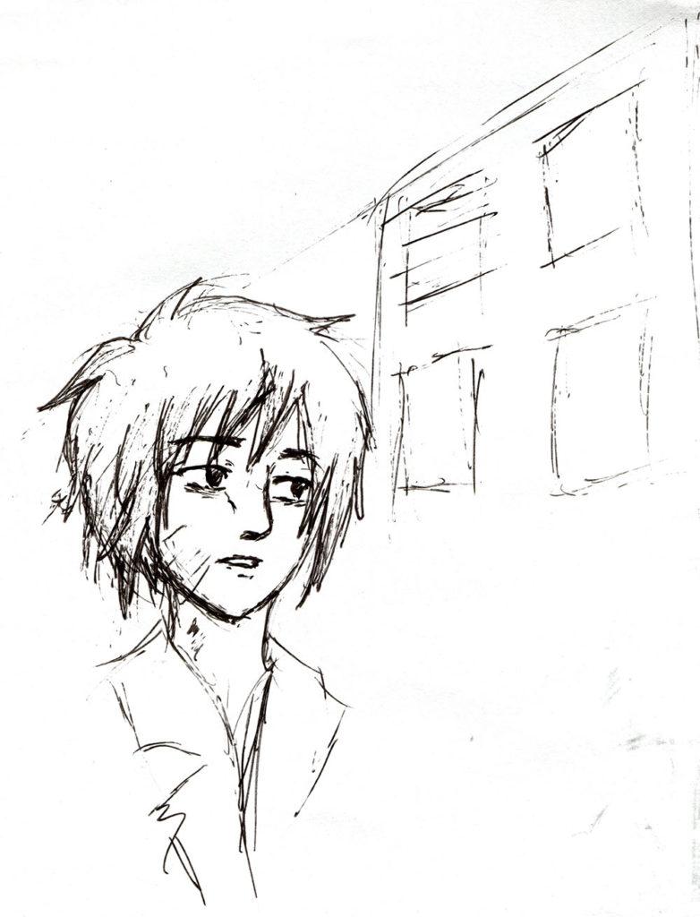 Antonia läuft mit leerem Blick durch die Graue Stadt- Skizze