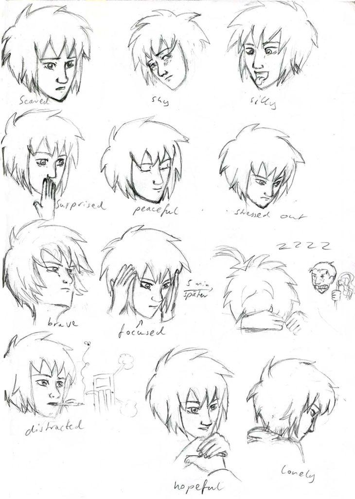 Antonia, Skizzen von verschiedenen Emotionen
