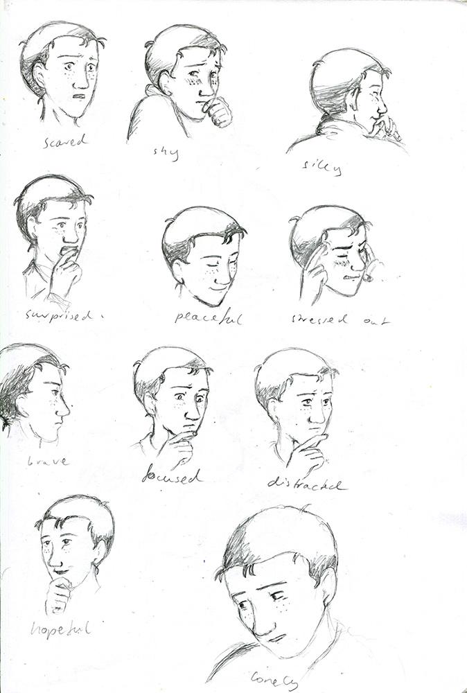 Elyas, Skizzen von verschiedenen Emotionen