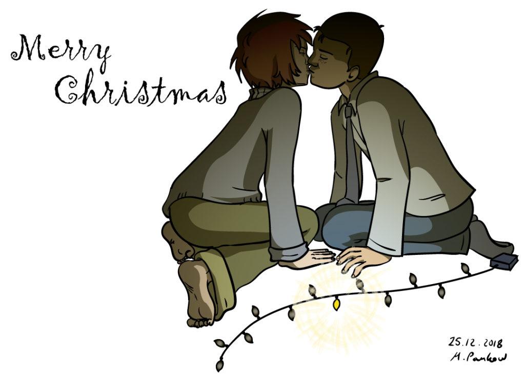 Weihnachten 2018, Antonia und Elyas küssen sich, Vektorillustration